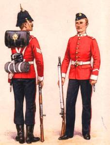 Men of the Worcestershire Regiment in 1897 - note the star on the soldiers 'valise' or leather backpack.