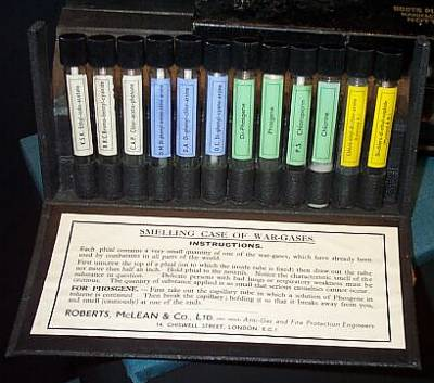 A box of gas phials used for training purposes