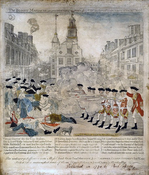 A contemporary engraving depicting the 29th firing upon the crowd during the Boston Massacre