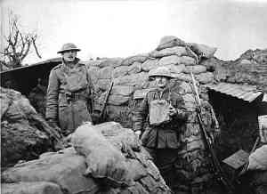 Officers of the Worcestershire Regiment in the trenches.