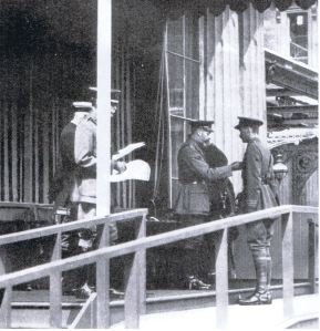 Captain Roberts being decorated by King George V.